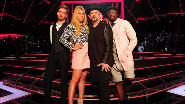 The coaches from The Voice (left to right) Ricky Wilson, Paloma Faith, Boy George and Will.i.am