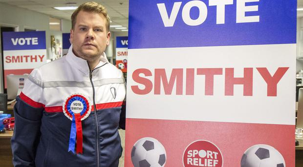 James Corden's Smithy character is running for Fifa presidency as part of the next Sports Relief fundraising drive (BBC/PA)