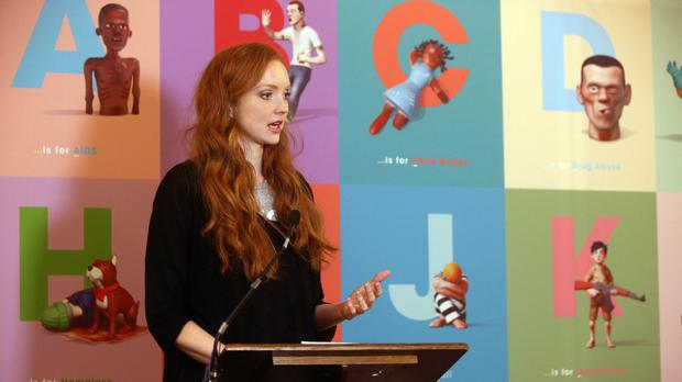 Lily Cole gives a speech on behalf of Project Literacy