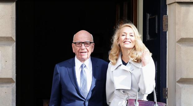 Media mogul Rupert Murdoch and Jerry Hall leave Spencer House, London, after getting married.