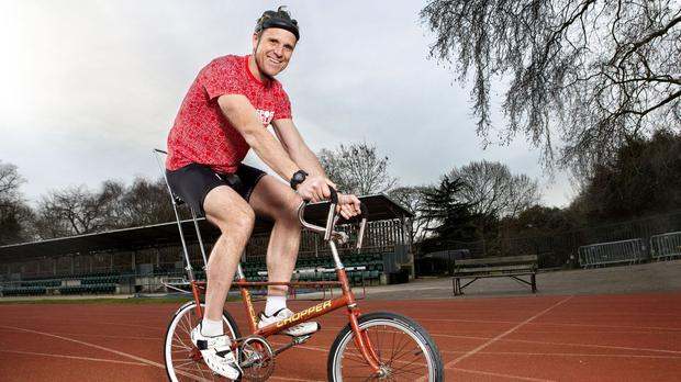 James Cracknell gets used to his Chopper bike (Comic Relief/PA Wire)