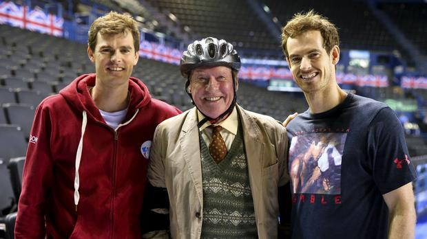 Andy and Jamie Murray teaming up with Michael Crawford for the Some Mothers Do 'Ave 'Em Sport Relief sketch (BBC/PA)