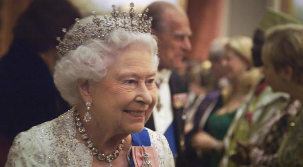 The Queen attending a diplomatic reception at Buckingham Palace