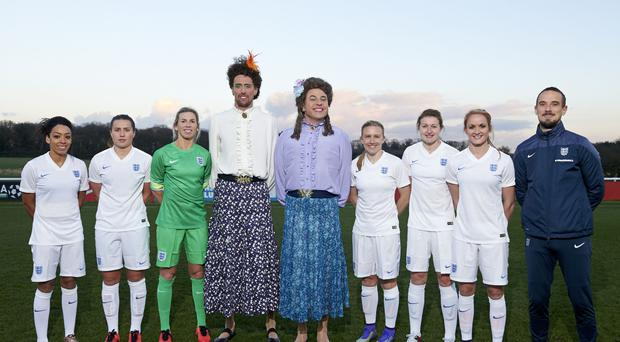 David Walliams revived Little Britain character Emily Howard for a Sport Relief sketch with former England footballer Peter Crouch and members of the England women's team Jess Clarke, Amy Turner, Carly Telford, Laura Bassett, Ellen White, Sophie Bradley and coach Mark Sampson