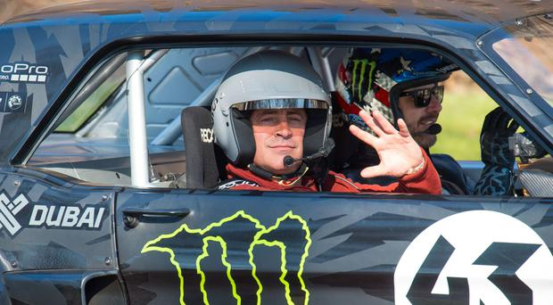 Matt LeBlanc and Ken Block (right) during filming for Top Gear in Westminster