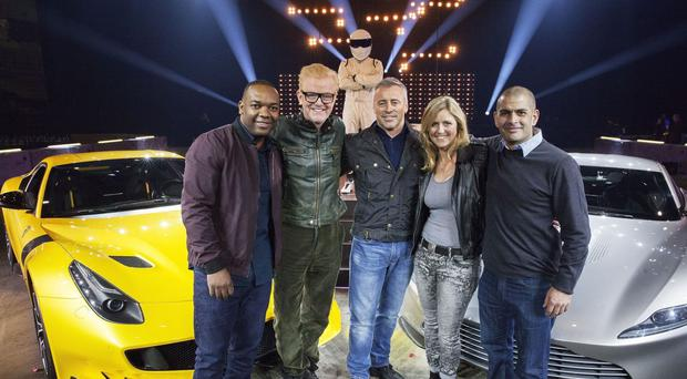 Top Gear presenters, from left, Rory Reid, Chris Evans, Matt LeBlanc, Sabine Schmitz and Chris Harris