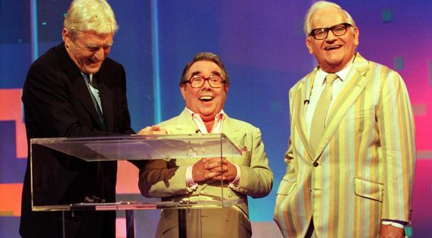 Michael Parkinson with Ronnie Corbett and Ronnie Barker at BBC Television Centre (BBC)