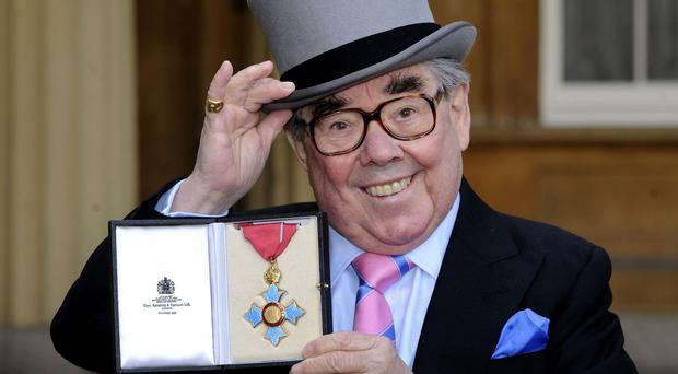 Ronnie Corbett receiving his CBE in 2012 - many people felt that he deserved a knighthood