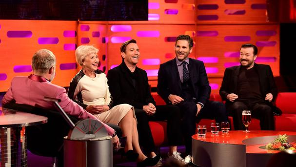(left to right) Graham Norton, Dame Helen Mirren, Ewan McGregor, Eric Bana and Ricky Gervais during the filming of the Graham Norton Show