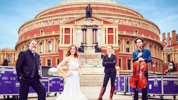 Bryn Terfel, Katie Derham, Mirga Grazinyte-Tyla and Leonard Elschenbroich outside the Royal Albert Hall ahead of the BBC Proms
