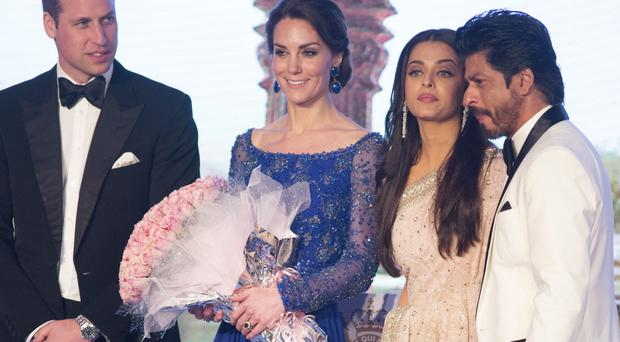 The Duke and Duchess of Cambridge on stage with Aishwarya Rai Bachchan and Shah Rukh Khan (right) in Mumbai