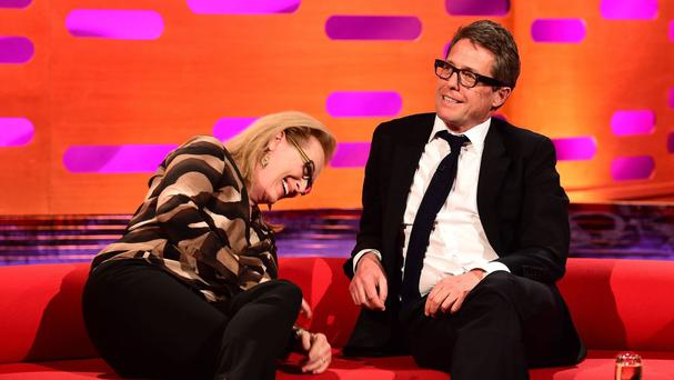 Meryl Streep and Hugh Grant during the filming of the Graham Norton Show. Streep said she's a fan of British reality TV shows