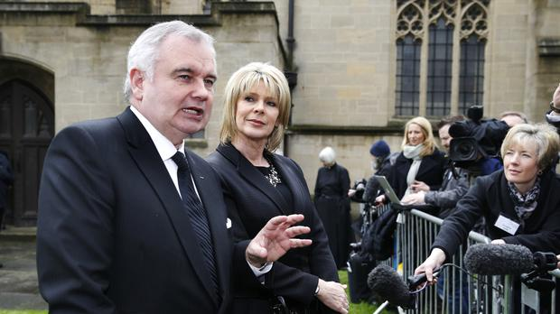 This Morning presenters Eamonn Holmes and wife Ruth Langsford at Denise Robertson's funeral