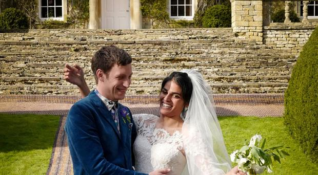 James Jagger and his wife Anoushka Sharma at their wedding celebration at Cornwell Manor, Chipping Norton, Oxfordshire (LD PR/PA)