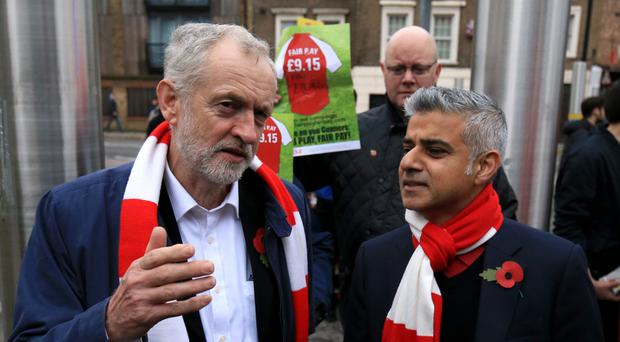 Lord Sugar compared Sadiq Khan and Jeremy Corbyn (right) to Laurel and Hardy