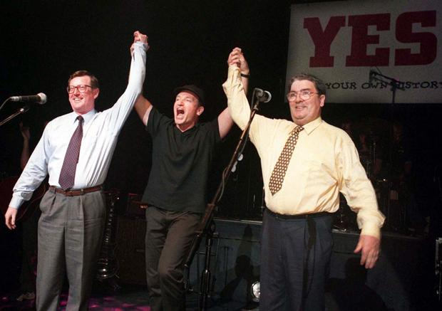 Back in time: John Hume with Bono and David Trimble campaigning for the Good Friday Agreement