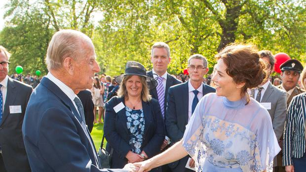 The Duke of Edinburgh meets Anna Friel