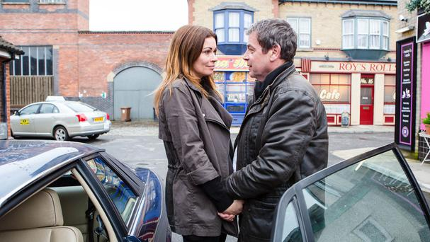 Coronation Street's Carla Connor, played by Alison King saying farewell to her father Johnny Connor (Richard Hawley) as she leaves the cobbles (ITV/PA)