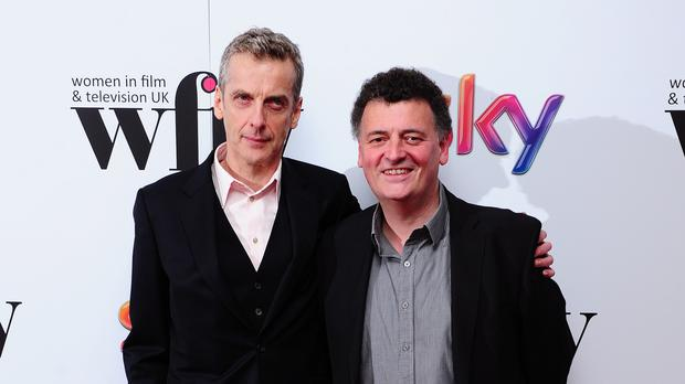 Current Time Lord Peter Capaldi with Steven Moffat
