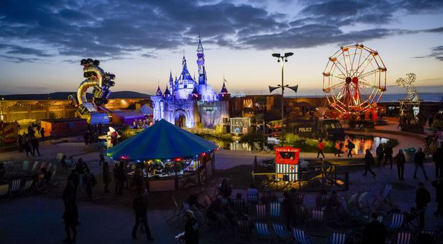 Banksy's Dismaland at sunset in Weston-super-Mare, Somerset