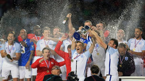 England celebrate their Soccer Aid victory