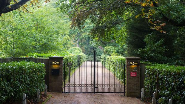 The gates of the home in Denham, Buckinghamshire, that was owned by Cilla Black
