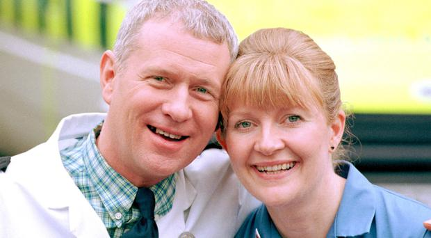 Casualty fan favourite Cathy Shipton, who plays nurse Lisa Duffin, with fellow veteran Derek Thompson, who plays Charlie Fairhead