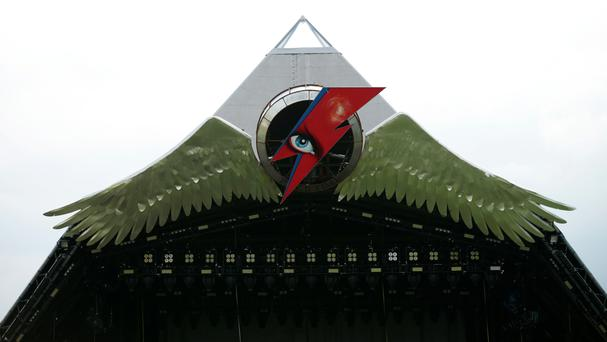 The Aladdin Sane lightning bolt tribute to David Bowie above the Pyramid Stage at Glastonbury