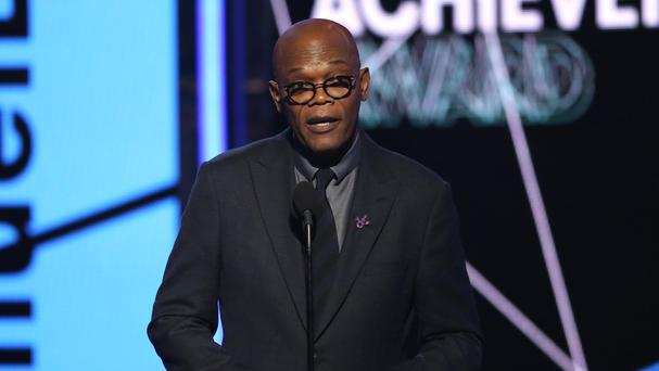 Samuel L Jackson accepts the lifetime achievement award at the BET Awards in Los Angeles (AP)