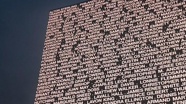 At Beyonce's Hampden Park Stadium show a giant screen was displayed with the names of Philando Castile, Alton Sterling and dozens of victims of police shootings in the US (from the Twitter feed of ‏@ohnikkers with permission)