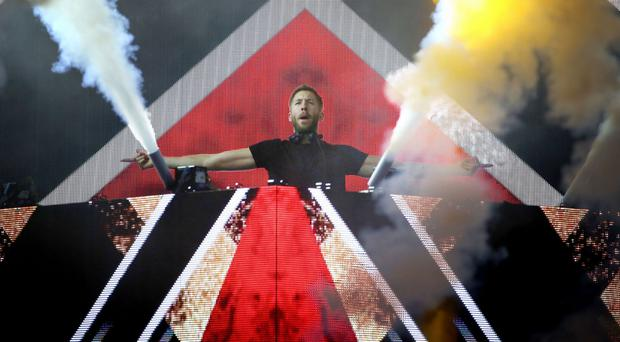 Calvin Harris performing on the main stage during the second day of T in the Park.