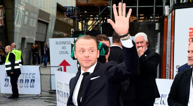 Arriving at the Star Trek Beyond premiere in Leicester Square, London, last night wasSimon Pegg