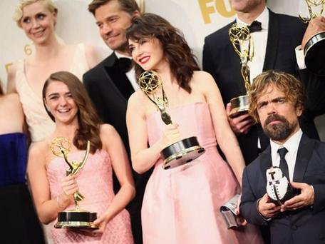 The Game of Thrones cast with their awards at last year's event, including Maisie Williams who plays Arya Stark