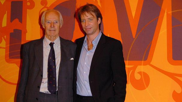 Sir George Martin and son Giles promoting the Beatles' Love Album in 2006