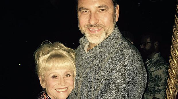 Photo from the Twitter feed of @davidwalliams of the star during a night out with long-time friend Dame Barbara Windsor