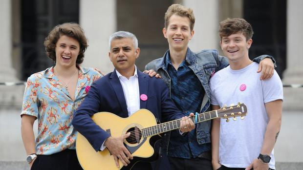 London Mayor Sadiq Khan joins boy band The Vamps as they launch International Busking Day in Trafalgar Square
