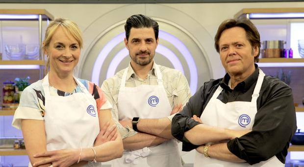 Louise Minchin, Alexis Conran and Jimmy Osmond, who have made it into the Celebrity Masterchef final.