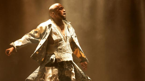 Kanye West performing on the Pyramid Stage at the Glastonbury Festival last year