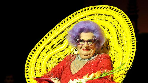 Barry Humphries in character as Dame Edna Everage