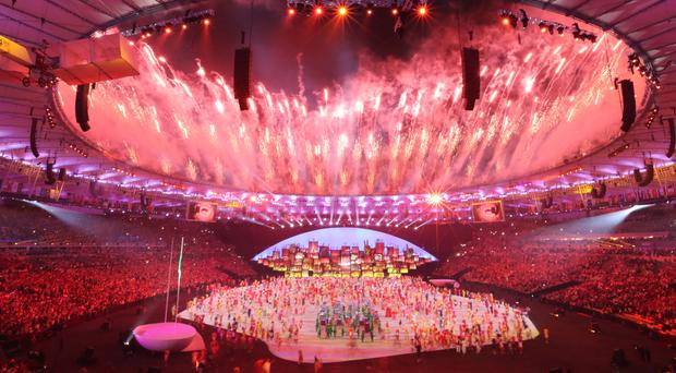 Fireworks light up the performers' dance during the opening ceremony at Rio (AP Photo/Lee Jin-man)