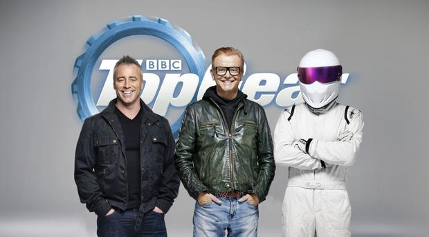 Matt LeBlanc (left) with Chris Evans and The Stig on Top Gear
