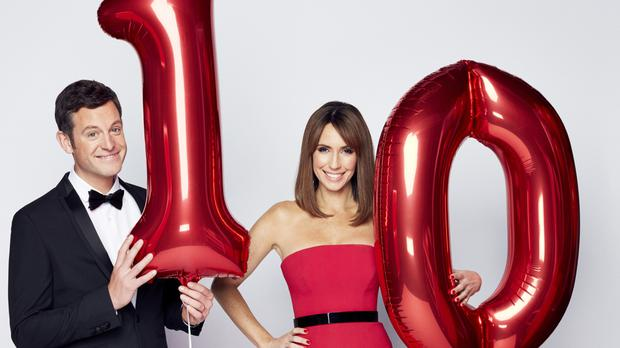 The One Show hosts Matt Baker (left) and Alex Jones celebrating the programme's 10th anniversary