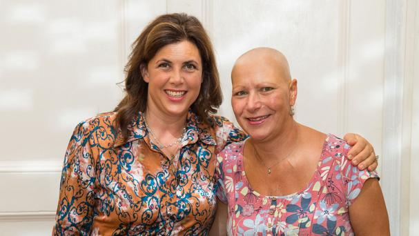 Stand Up To Cancer supporter Kirstie Allsopp surprises single mother Ann Sandeman, 45, who has terminal cancer, with a tea party in recognition of her efforts to support and raise awareness for Cancer Research UK