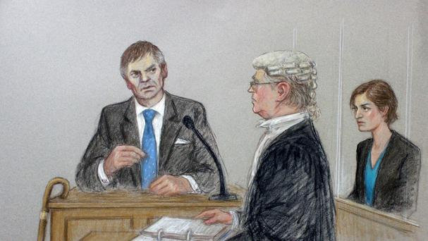 A court artist drawing illustrating defendant Helen Titchener (played by Louiza Patikas), listening to evidence from her husband Rob (Timothy Watson) (BBC/PA)