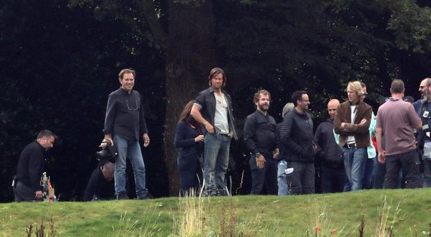 Mark Wahlberg (second left) and director Michael Bay (right) during filming for the new film Transformers: The Last Knight filming, at Alnwick Castle in Northumberland.