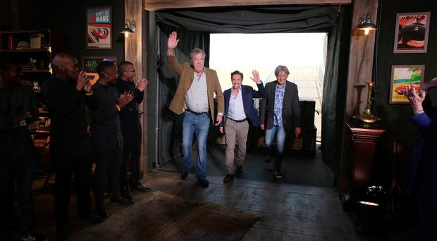 Jeremy Clarkson, Richard Hammond and James May in Johannesburg during the first studio tent recording of The Grand Tour.