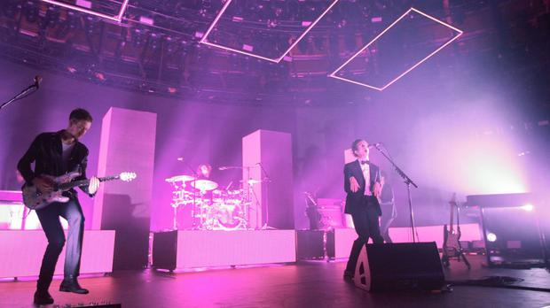 The 1975 performing live on stage at the Roundhouse in London