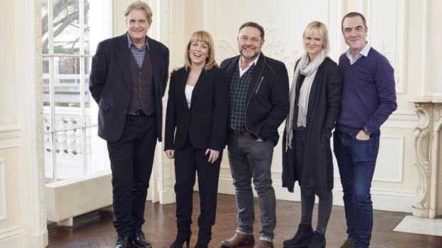 Robert Bathurst, left, with fellow cast members Fay Ripley, John Thomson, Hermione Norris and James Nesbitt (ITV/PA)