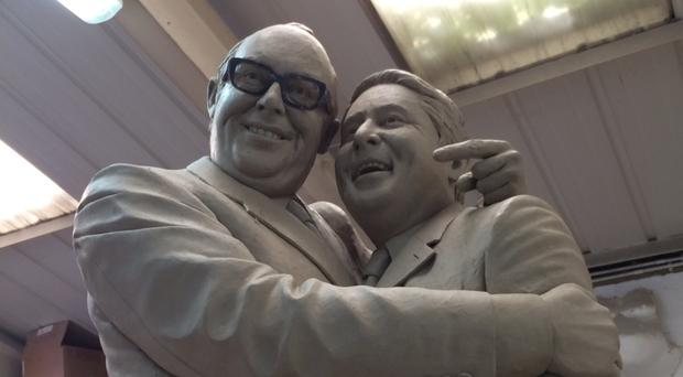 You can't see the join - the statue of Morecambe and Wise as sculpted in clay before bronzed casting