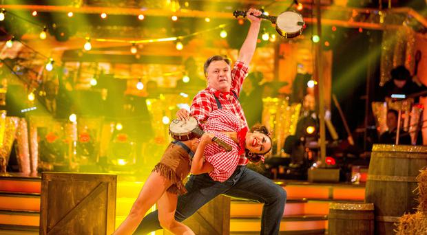 Ed Balls with his dance partner Katya Jones during Saturday's live edition of Strictly Come Dancing (BBC/PA)